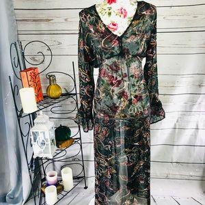 Blancheporte Plus 1X see through floral maxi dress